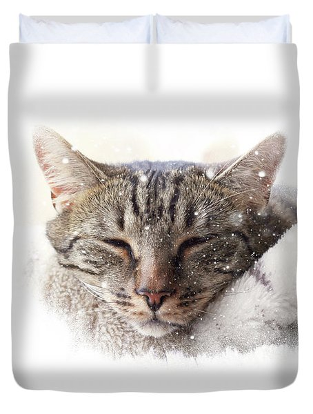 Duvet Cover featuring the photograph Cat And Snow by Helga Novelli