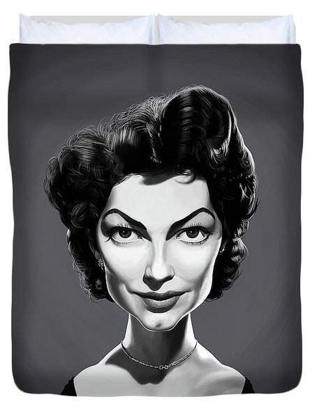 Duvet Cover featuring the digital art Celebrity Sunday - Ava Gardner by Rob Snow