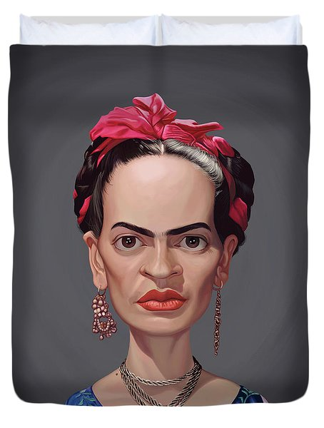Duvet Cover featuring the digital art Celebrity Sunday - Frida Kahlo by Rob Snow