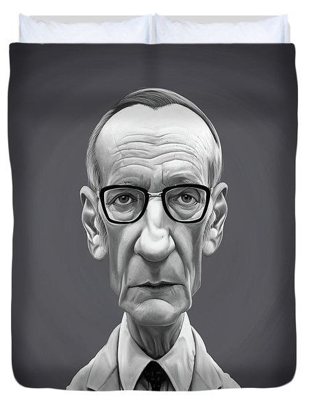 Duvet Cover featuring the digital art Celebrity Sunday - William Burroughs by Rob Snow