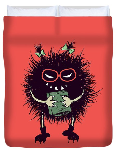Geek Evil Bug Character Loves Reading Duvet Cover