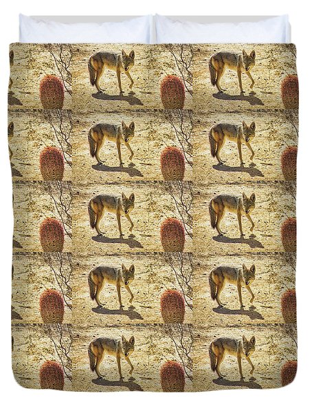 Young Coyote And Cactus Duvet Cover