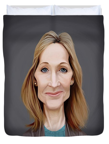 Duvet Cover featuring the digital art Celebrity Sunday - J.k.rowling by Rob Snow
