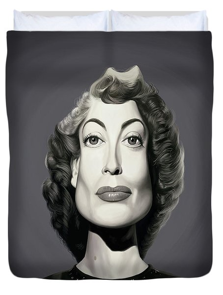 Duvet Cover featuring the digital art Celebrity Sunday - Joan Crawford by Rob Snow