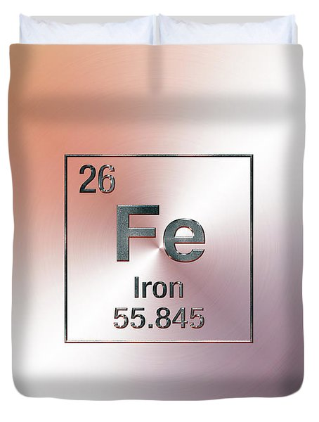 Periodic Table Of Elements - Iron Fe Duvet Cover