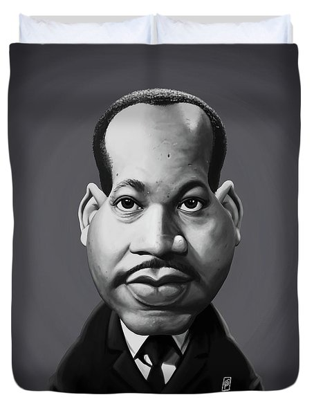 Duvet Cover featuring the digital art Celebrity Sunday - Martin Luther King by Rob Snow
