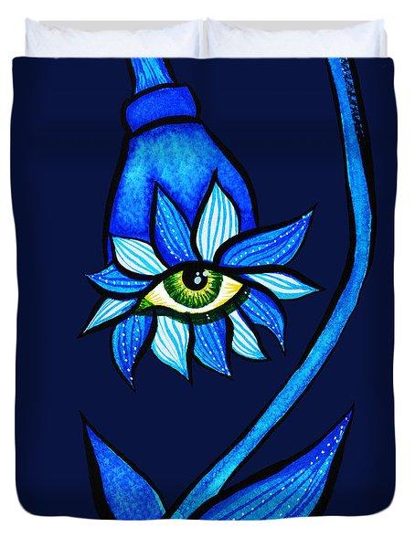Weird Blue Staring Creepy Eye Flower Duvet Cover