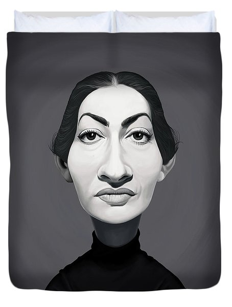 Duvet Cover featuring the digital art Celebrity Sunday - Maria Callas by Rob Snow