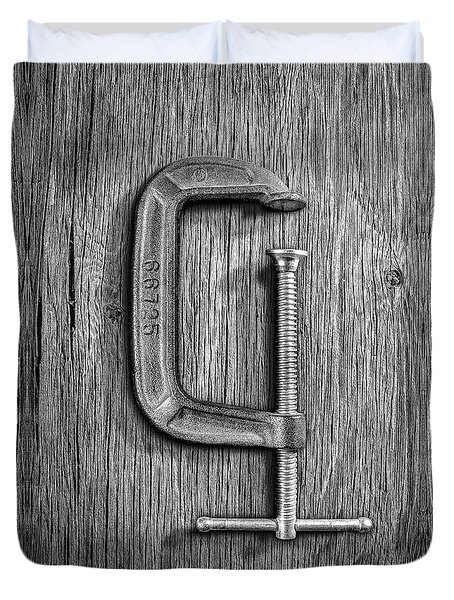 Iron C-clamp On Plywood 68 In Bw Duvet Cover