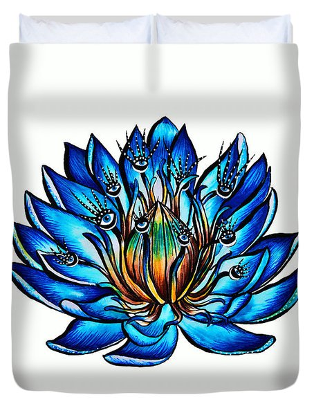 Weird Multi Eyed Blue Water Lily Flower Duvet Cover