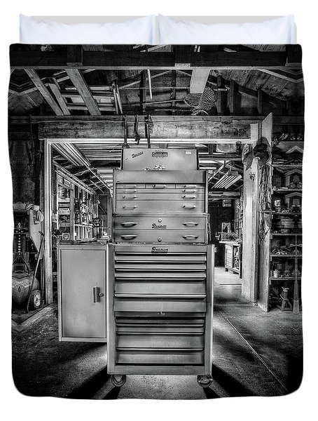 Mechanics Toolbox Cabinet Stack In Garage Shop In Bw Duvet Cover