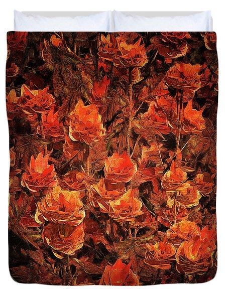 Bronze Roses Duvet Cover