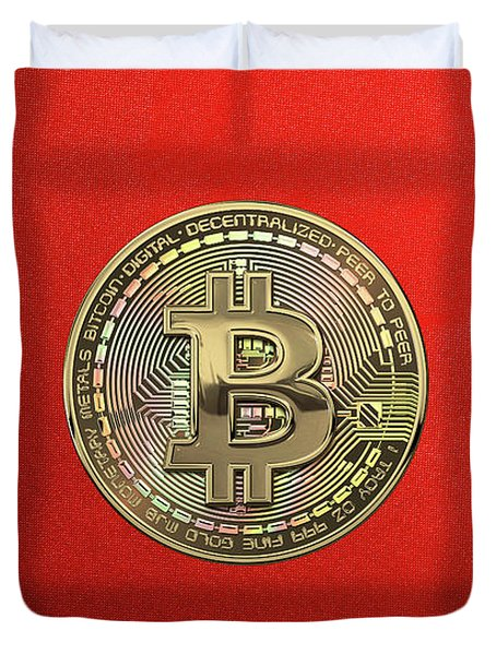 Gold Bitcoin Effigy Over Red Canvas Duvet Cover