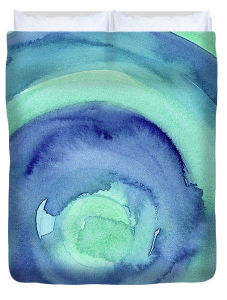 Abstract Watercolor Aqua Blues Duvet Cover