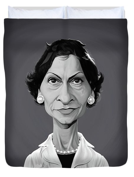 Duvet Cover featuring the digital art Celebrity Sunday - Coco Chanel by Rob Snow
