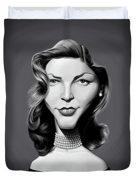 Duvet Cover featuring the digital art Celebrity Sunday - Lauren Bacall by Rob Snow