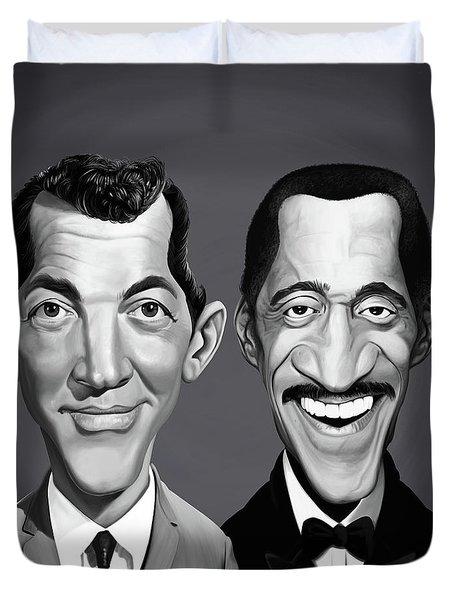 Duvet Cover featuring the digital art Celebrity Sunday - Sammy Davis Jnr And Dean Martin by Rob Snow