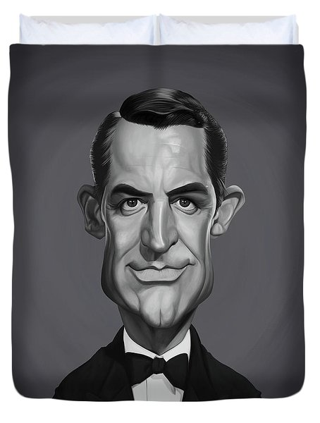 Duvet Cover featuring the digital art Celebrity Sunday - Cary Grant by Rob Snow