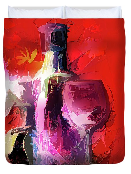 Fun Colorful Modern Wine Art   Duvet Cover