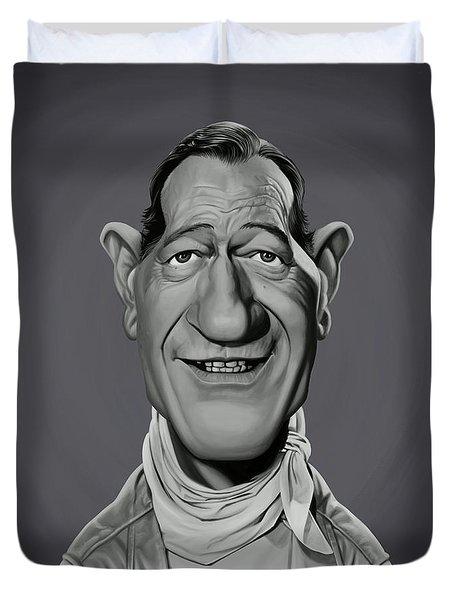 Duvet Cover featuring the digital art Celebrity Sunday - John Wayne by Rob Snow