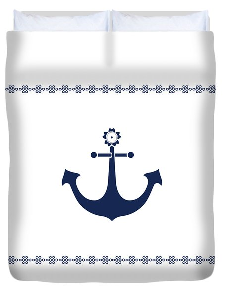 Anchor With Knot Border In Blue Duvet Cover