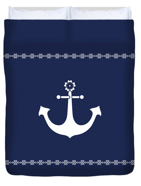 Anchor With Knot Border In White Duvet Cover