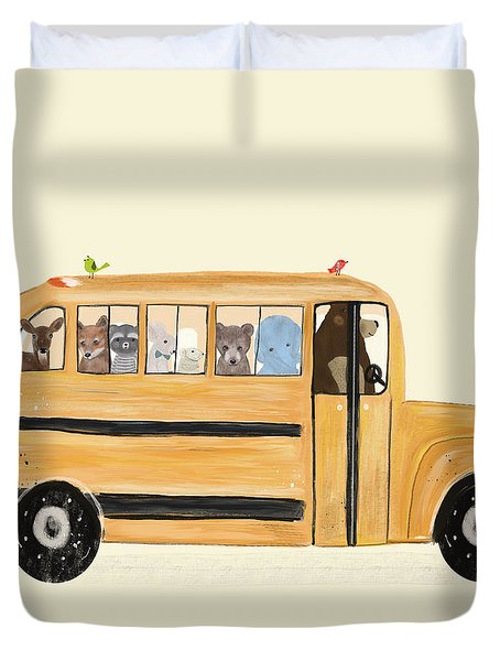 Little Yellow Bus Duvet Cover
