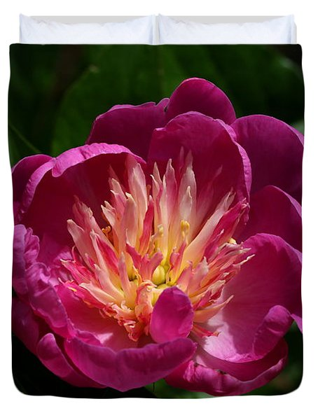 Pretty Pink Peony Flower Duvet Cover