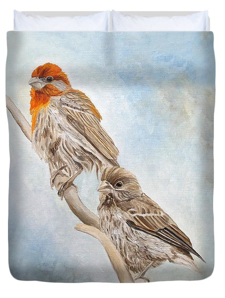 House Finch Couple Duvet Cover