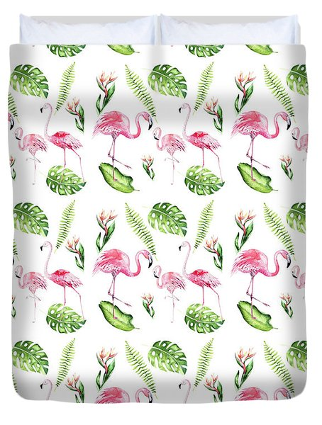 Duvet Cover featuring the painting Watercolour Tropical Beauty Flamingo Family by Georgeta Blanaru