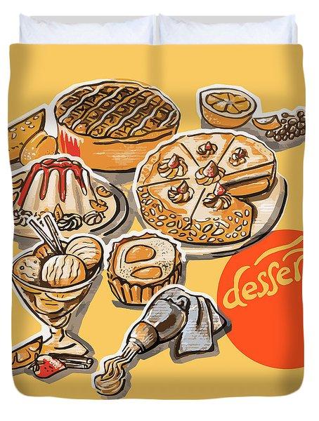 Kitchen Illustration Of Menu Of Desserts  Duvet Cover