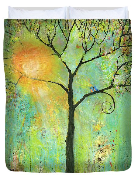 Hello Sunshine Tree Birds Sun Art Print Duvet Cover