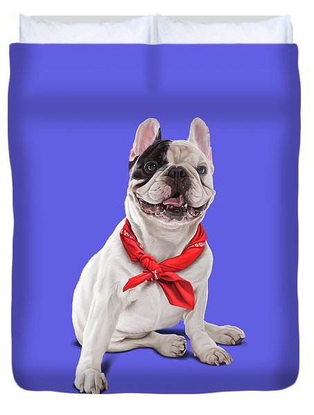 Duvet Cover featuring the digital art Frenchie Colour by Rob Snow