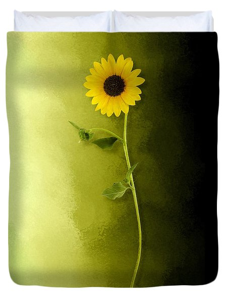 Duvet Cover featuring the photograph Single Long Stem Sunflower by Debi Dalio