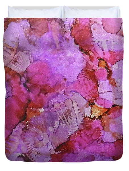 Duvet Cover featuring the painting Blossoms Ink #1 by Sarajane Helm