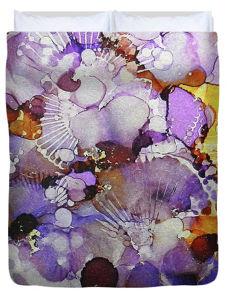 Duvet Cover featuring the painting Fanburst Ink #3 by Sarajane Helm