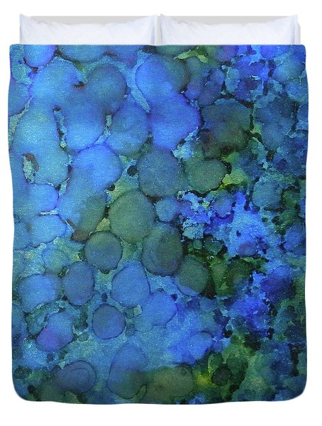Duvet Cover featuring the painting Summer Lake Ink #5 by Sarajane Helm