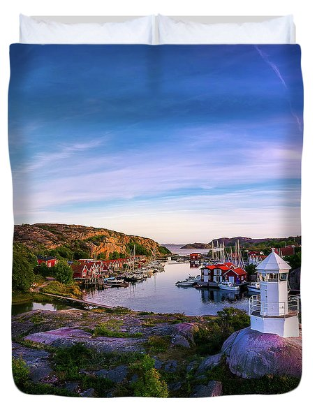 Sunset Over Old Fishing Port - Aerial Photography Duvet Cover