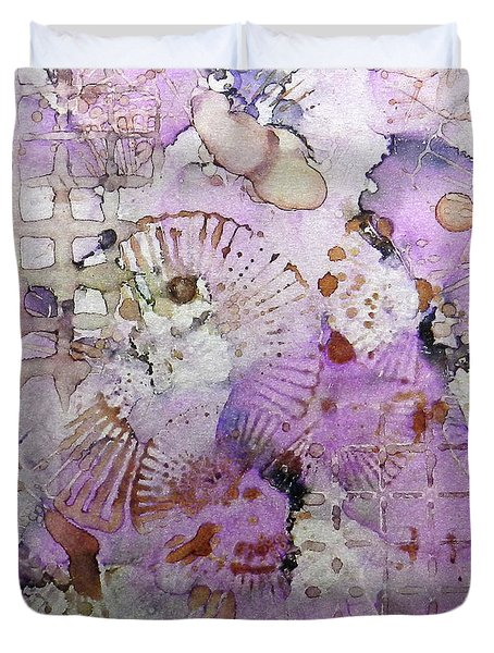 Duvet Cover featuring the painting Lavender Mornings Ink #6 by Sarajane Helm