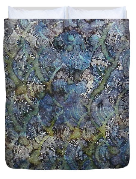 Duvet Cover featuring the painting Wave Shadows Ink #7 by Sarajane Helm