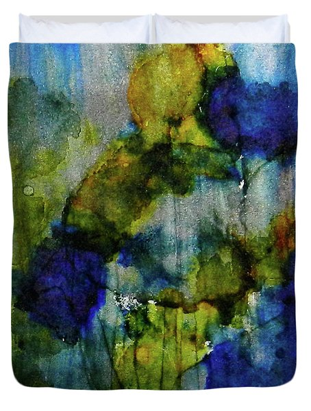 Duvet Cover featuring the painting Labradorite Dreams Ink #9 by Sarajane Helm
