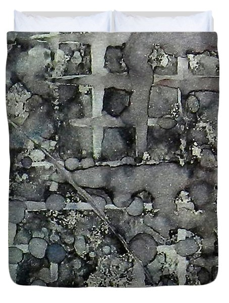 Duvet Cover featuring the painting Sumi Squares Ink #11 by Sarajane Helm