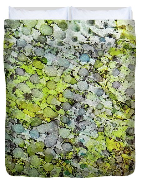 Duvet Cover featuring the painting Vernal Showers Ink #12 by Sarajane Helm