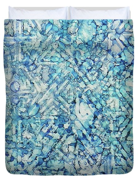 Duvet Cover featuring the painting Indigo Trails Ink #14 by Sarajane Helm