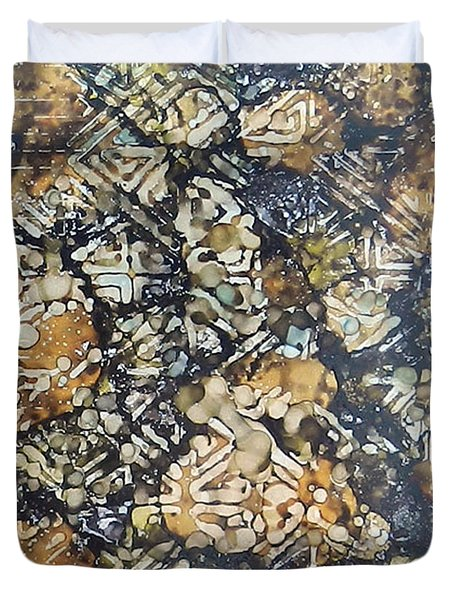 Duvet Cover featuring the painting Bark Batik Ink #22 by Sarajane Helm
