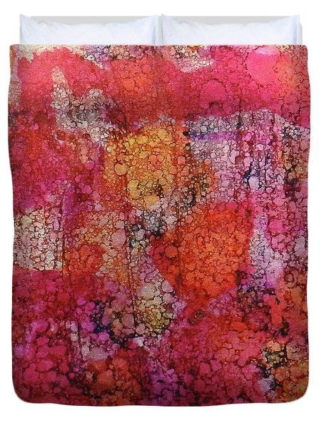 Duvet Cover featuring the painting Sangria Ink #16 by Sarajane Helm