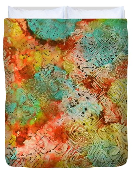 Duvet Cover featuring the painting Paprika Drift Ink #18 by Sarajane Helm