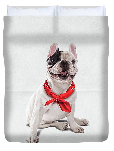 Duvet Cover featuring the digital art Frenchie Wordless by Rob Snow