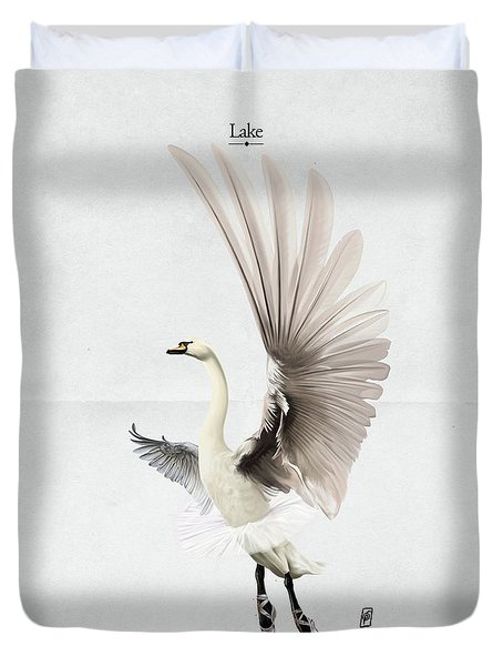 Duvet Cover featuring the digital art Lake by Rob Snow