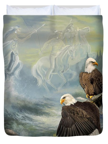 Eagels And Native American  Spirit Riders Duvet Cover